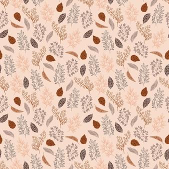 Cozy mood seamless pattern con foglie autunnali e pigna con stile disegnato a mano di doodle di linea