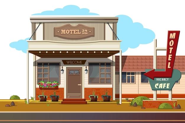 Motel accogliente e caffè lungo la strada. motel 24 aperto, caffè vacante.