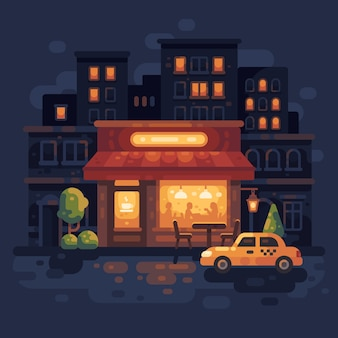Illustrazione piana di scena accogliente di notte street cafe. sfondo di sera città strada.