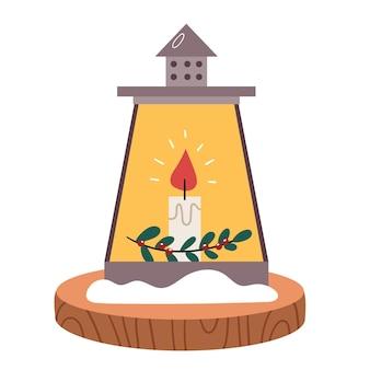 Accogliente candelabro invernale con candele e neve