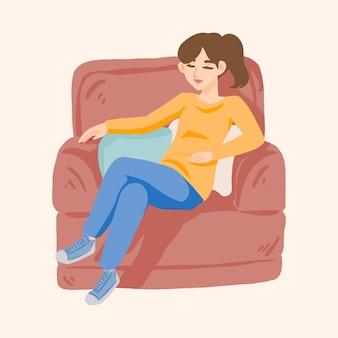 La donna accogliente si rilassa su un divano illustrazione sveglia disegnata a mano