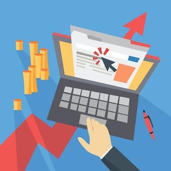 Costo cpc per clic pubblicitario su internet. strategia di marketing per la promozione aziendale. paga il banner sulla pagina web. illustrazione