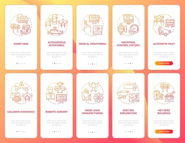 Schermata della pagina dell'app mobile per l'onboarding dell'utilizzo di cps con i concetti impostati. smart grid, chirurgia robotica, passaggi di esplorazione del mare. modello di interfaccia utente