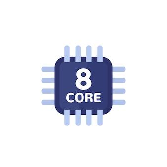 Cpu, icona del processore a 8 core su bianco