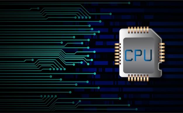 Fondo di concetto di tecnologia futura del circuito cyber della cpu
