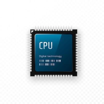 Cpu isolata su sfondo trasparente. concetto dell'unità microchip