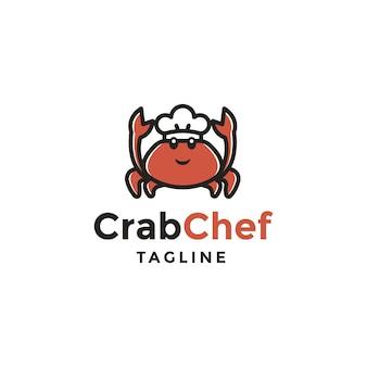 Logo dello chef di granchio. concetto di design del logo chef di granchio.