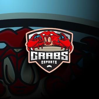 Logo mascotte di granchio esport