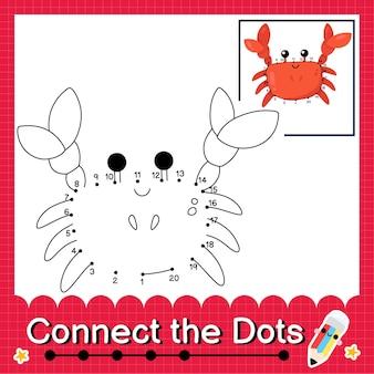 Il puzzle dei bambini del granchio collega il foglio di lavoro dei punti per i bambini che contano i numeri da 1 a 20