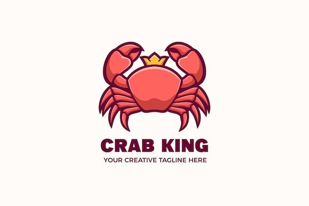 Modello di logo del personaggio della mascotte dei frutti di mare del re del granchio