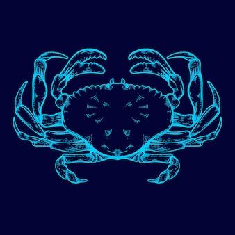 Granchio line art bagliore nell'illustrazione a colori al neon scuro