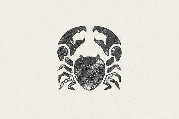 Sagoma di granchio per effetto timbro disegnato a mano design logo ed emblema
