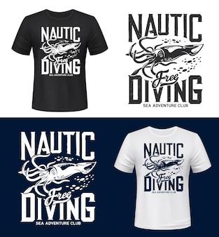 Mockup di stampa t-shirt granchio, sport club di immersioni in mare e oceano