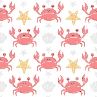 Granchi con reticolo senza giunte di stelle marine e conchiglie