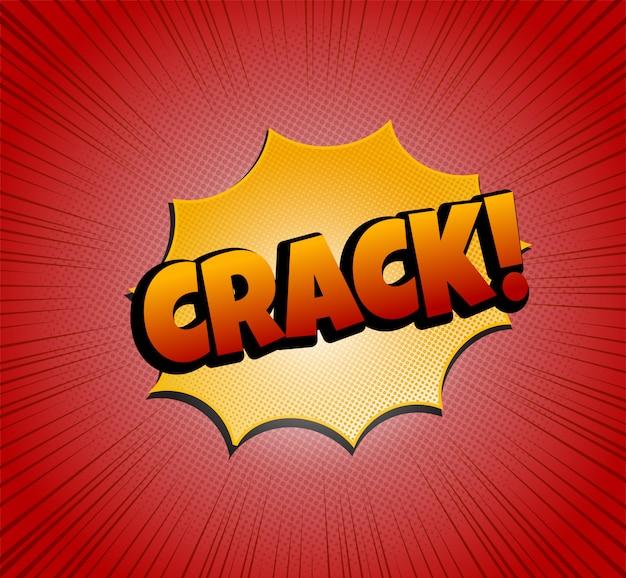 Crack testo bolla comica. stile pop art. effetti mezzitoni e sfondo radiale