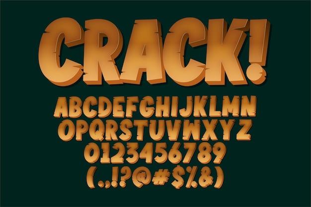 Design moderno alfabeto in stile alfabeto incrinato