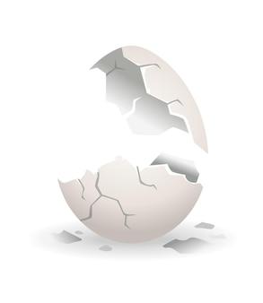 Uovo rotto. fase di rottura del guscio d'uovo. uovo di gallina realistico con guscio d'uovo rotto. elemento di design dell'uovo rotto fragile.