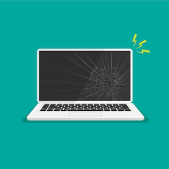 Monitor rotto display del computer portatile rotto nero riparare il computer illustrazione vettoriale