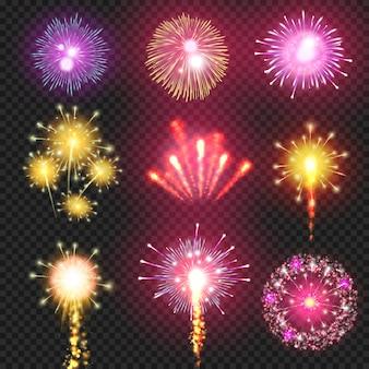 Fuoco d'artificio del cracker sull'illustrazione del cielo notturno