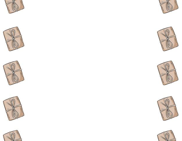 Contorno di vettore disegnato a mano di scatole di artigianato scarabocchi modello di bordo senza giunte. simpatico striscione regalo rustico con scatola regalo mock up. mattonelle di struttura della priorità bassa della decorazione di formato lettera. spazio per il tuo testo