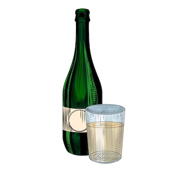 Bottiglia di sidro artigianale con bicchiere pieno collin. disegnato a mano