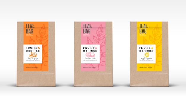 Il sacchetto di carta artigianale con le etichette del tè di frutta esotica imposta il layout di progettazione dell'imballaggio vettoriale astratto con real ...