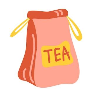 Sacchetto di carta artigianale con tè. elemento per il design della cucina di bar e ristoranti.