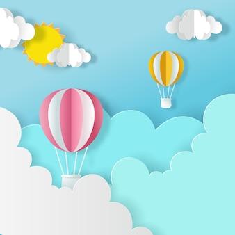 Stile artigianale di palloncini sul cielo