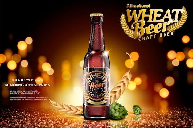 Annunci di birra di frumento artigianale con ingredienti su sfondo glitter bokeh marrone