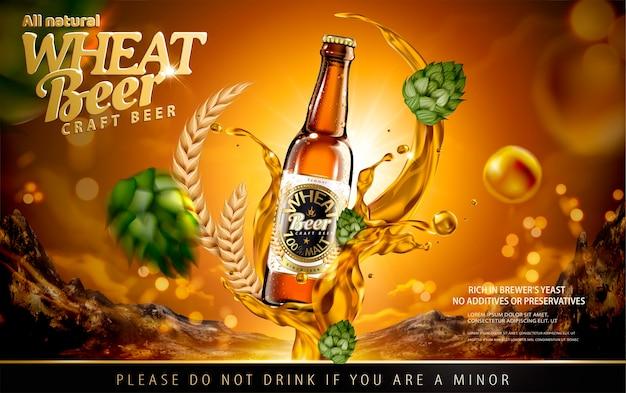 Annunci di birra di frumento artigianale con spruzzi di alcol e luppolo su sfondo marrone lucido