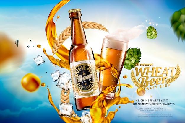 Birra di frumento artigianale con spruzzi di liquido e ingredienti sul cielo blu bokeh