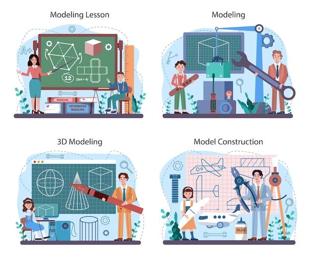 Set di corsi per scuola di bricolage e modellismo. l'insegnante insegna agli studenti come creare. scultura, aeronautica e modellazione 3d. hobby creativo e lezione. illustrazione vettoriale piatto isolato