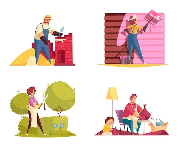 Il concetto dell'artigiano ha messo con le illustrazioni isolate piane del vasaio e del giardiniere, Vettore Premium
