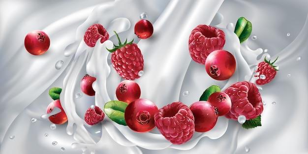 Mirtilli rossi e lamponi in una spruzzata da un flusso di latte versato. illustrazione realistica.
