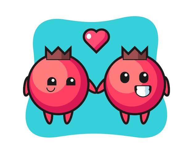 Coppia di personaggio dei cartoni animati di mirtillo rosso con gesto di innamoramento, stile carino, adesivo, elemento logo