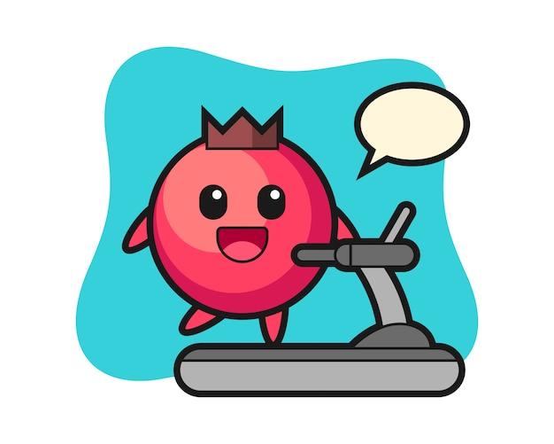 Personaggio dei cartoni animati di mirtillo rosso che cammina sul tapis roulant, stile carino, adesivo, elemento del logo