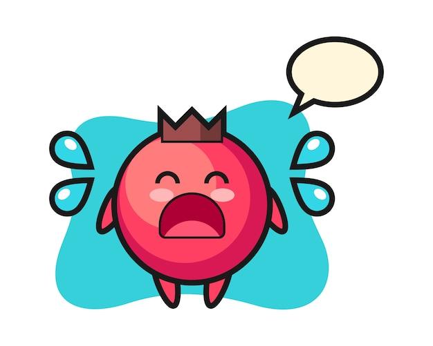 Illustrazione del fumetto del mirtillo rosso con gesto di pianto, stile carino, adesivo, elemento del logo