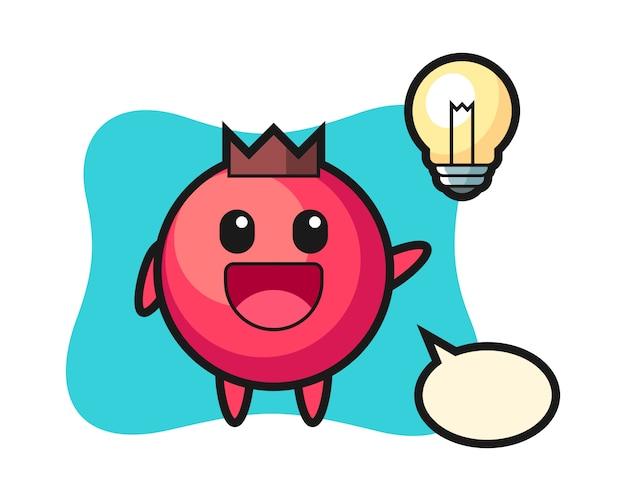 Fumetto del personaggio di mirtillo rosso che ottiene l'idea, stile carino, adesivo, elemento del logo