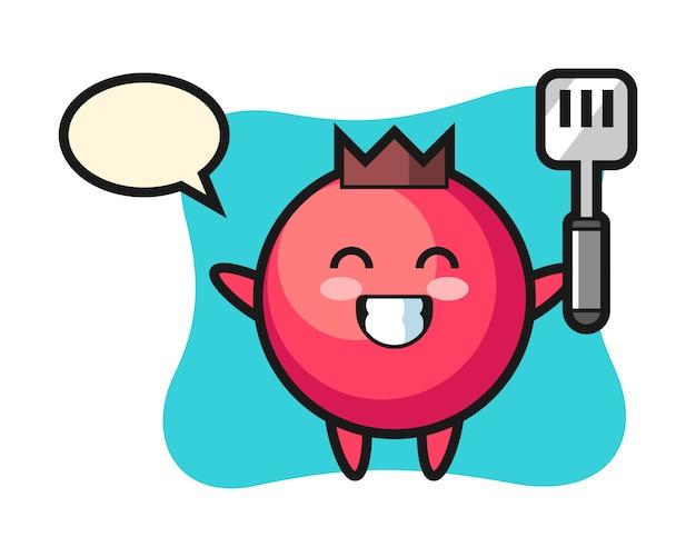L'illustrazione del personaggio di mirtillo rosso come chef sta cucinando, stile carino, adesivo, elemento del logo