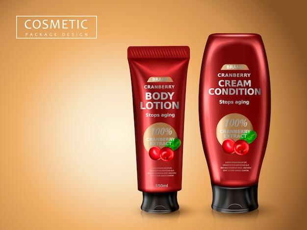 Pacchetto di prodotti cosmetici di mirtillo rosso