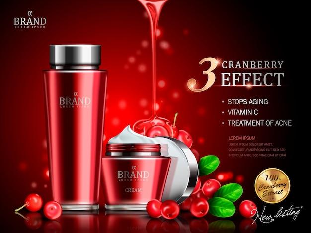 Crema di mirtilli rossi contenuta in una bottiglia e un barattolo, con elementi di mirtillo rosso, illustrazione 3d