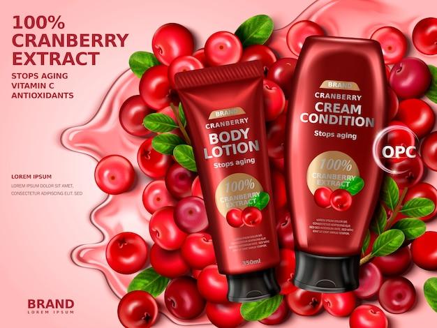 Crema di mirtilli contenuta in bottiglie, con elementi di mirtillo rosso, illustrazione 3d