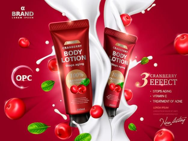 Crema di mirtilli rossi contenuta in tubi, con elementi di mirtillo rosso e flussi di crema, illustrazione 3d