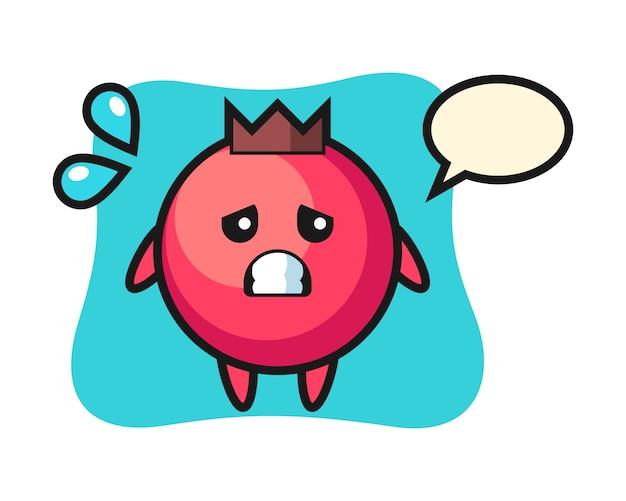 Carattere della mascotte del mirtillo rosso con gesto di paura, stile carino, adesivo, elemento del logo