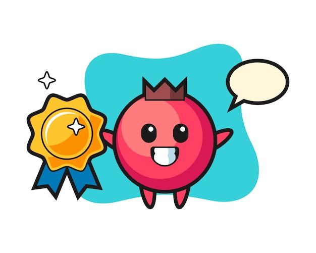 Illustrazione della mascotte del mirtillo rosso che tiene un distintivo dorato, uno stile carino, un adesivo, un elemento del logo