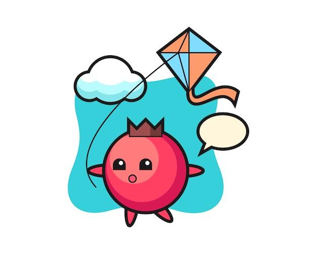 L'illustrazione della mascotte del mirtillo rosso sta giocando a aquilone, stile carino, adesivo, elemento del logo