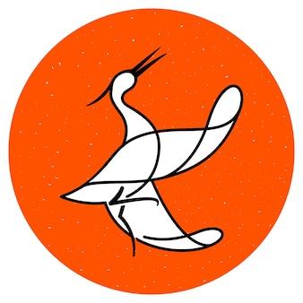 Uccello gru che balla con le ali spalancate