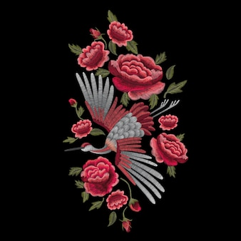 Gru uccello, fiori, rosa, rosa canina, pianta.