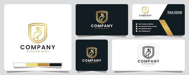 Uccello gru, colore dorato, lusso, scudo, ispirazione per il design del logo