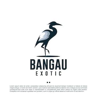 Uccello della gru, in piedi, modello di progettazione del logo